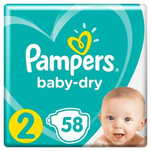 COUCHE Pampers Baby-Dry Taille 2, 4-8 kg - 58 Couches