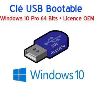 CLÉ USB Clé USB 8Go Bootable Windows 10 Pro 64 Bits + Lice