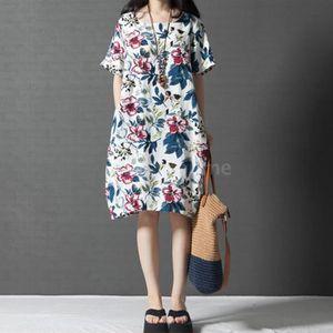 ROBE Nouveau Femme Coton Surdimensionné Lin Lin Floral