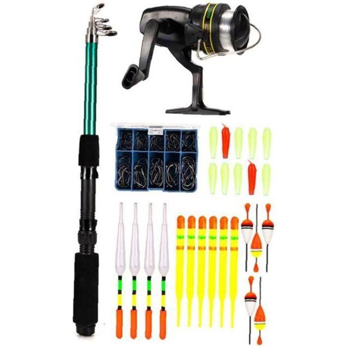Canne à pêche Ensemble canne à pêche et moulinet Combo Set Sac Spinning vitesse ligne cadeau débutant Noir 127PCS