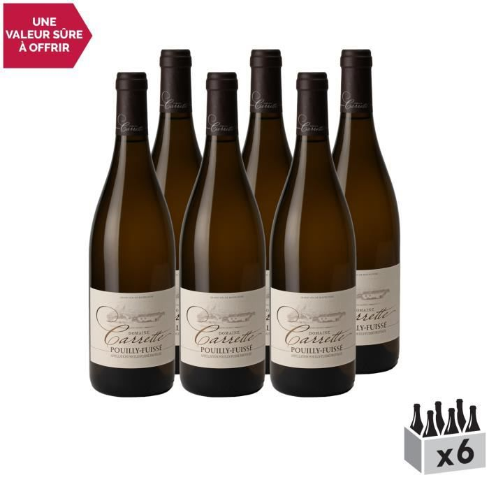 Pouilly-Fuissé Blanc 2019 - Lot de 6x75cl - Domaine Carrette - Vin AOC Blanc de Bourgogne - Cépage Chardonnay