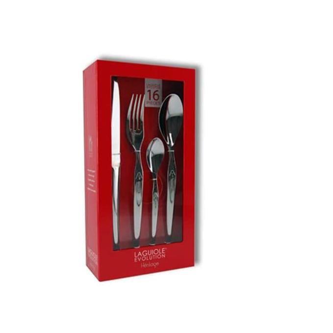 Laguiole Production - Ménagère 16 pièces Design - Set de couverts de table acier inox forgés massif 18/0 poli miroir - Pour 4 person
