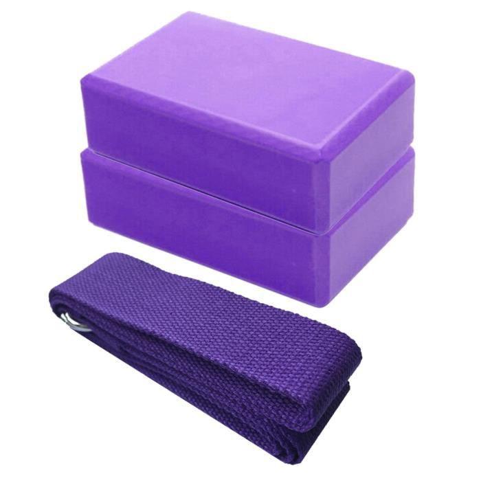 Lot de 2 blocs de yoga et ensemble de sangles de yoga avec anneau en D Brique de yoga en mousse EVA haute densité FWT200429001PP