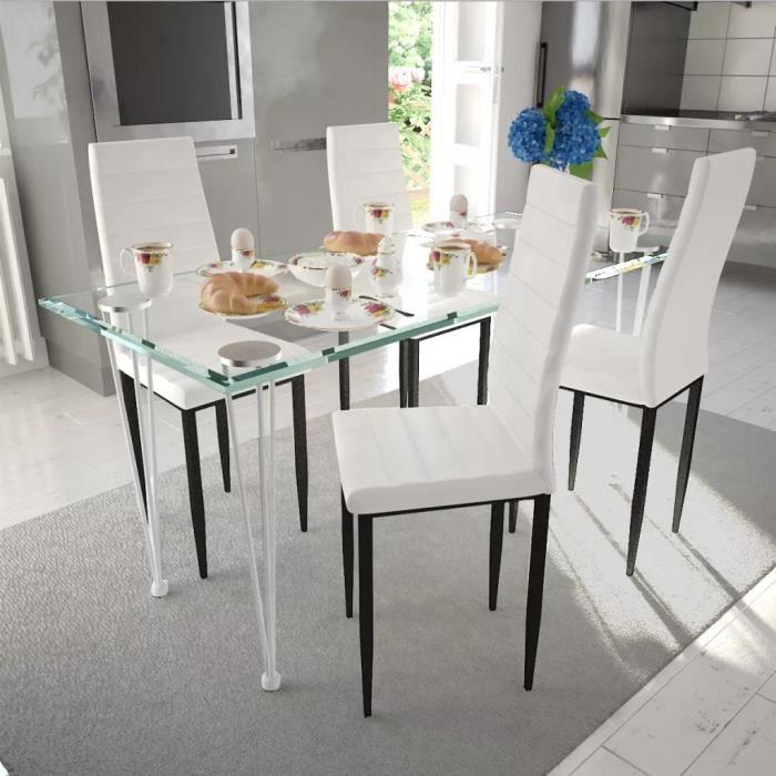 4pcs Chaise à Manger - Chaise de Cuisine Design Fin pour Cuisine, Salle à Manger Cuir Synthétique Blanc