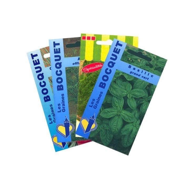 Graine - Semence - Lot de Plantes Aromatiques spéciales Salades (4 sachets de graines à semer)