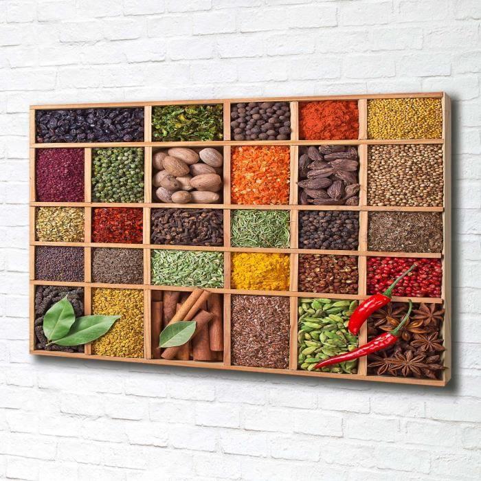 Tulup 100x70 cm art mural - Tableau sur toile:- Nourriture boissons - Épices Herbes - Multicolore Gris