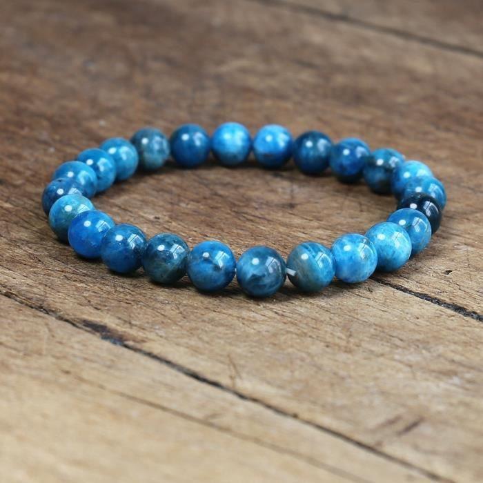 Bracelet en pierre d'apatite naturelle, 8mm, bijoux faits à la main, brin de Yoga, énergie de guérison, pour femmes et   -CLAT8795