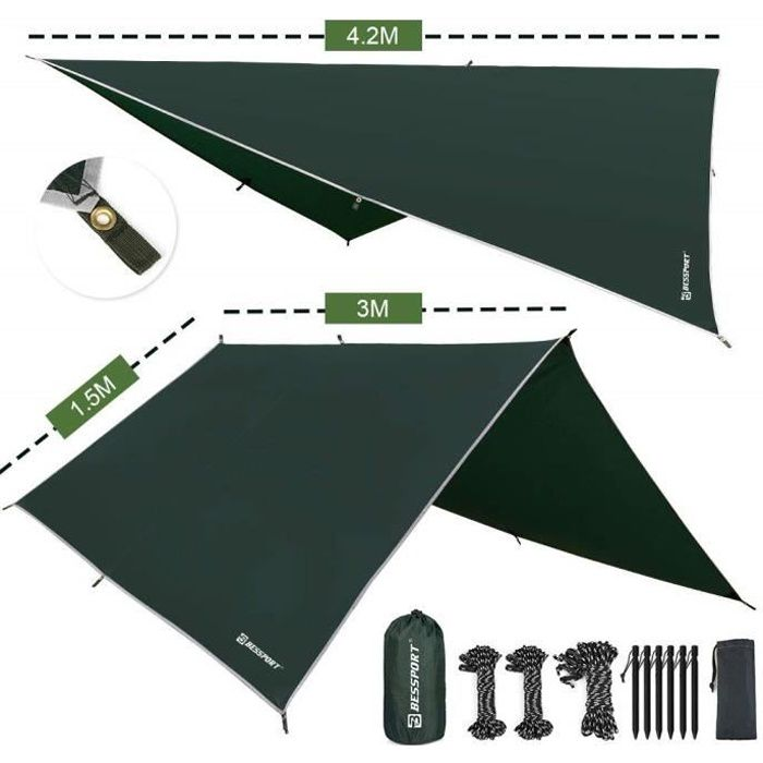 Bâches Bessport Camping Bâche Anti-Pluie, PU 3000mm Imperméable Tarp Rain Fly Toile de Tente Parasol Abri de Survie, Tou 5164