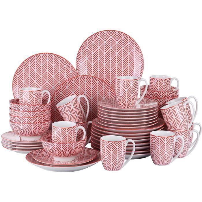 vancasso, série MOMOKO, Service de Table Complet en Porcelaine, Assiette Bols 48 pièces , Style Japonais-ROUGE