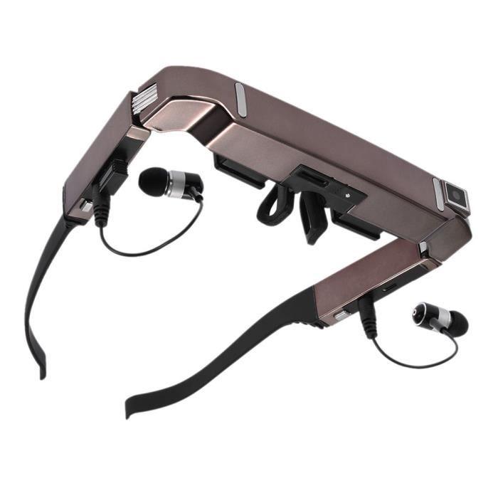 Vision 800 Smart Android WiFi Lunettes Grand Écran Portable Vidéo 3D Lunettes Théâtre Privé avec Caméra Bluetooth Noir