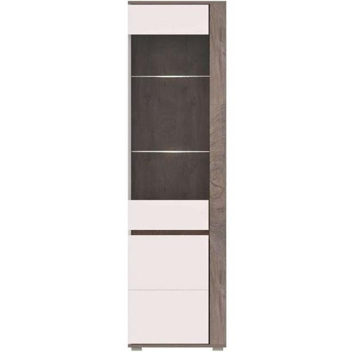 ARES - Meuble de rangement Vitrine style moderne salon séjour - 196x60x40cm - Armoire porte vitrée - Aspect bois + Gloss -