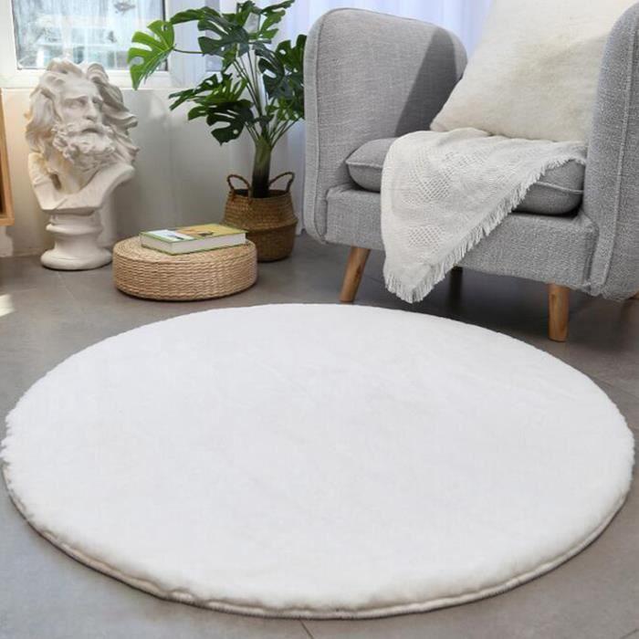 Tapis de Sol Rond Tapis Shaggy Doux Chambre Salon 100cm blanc