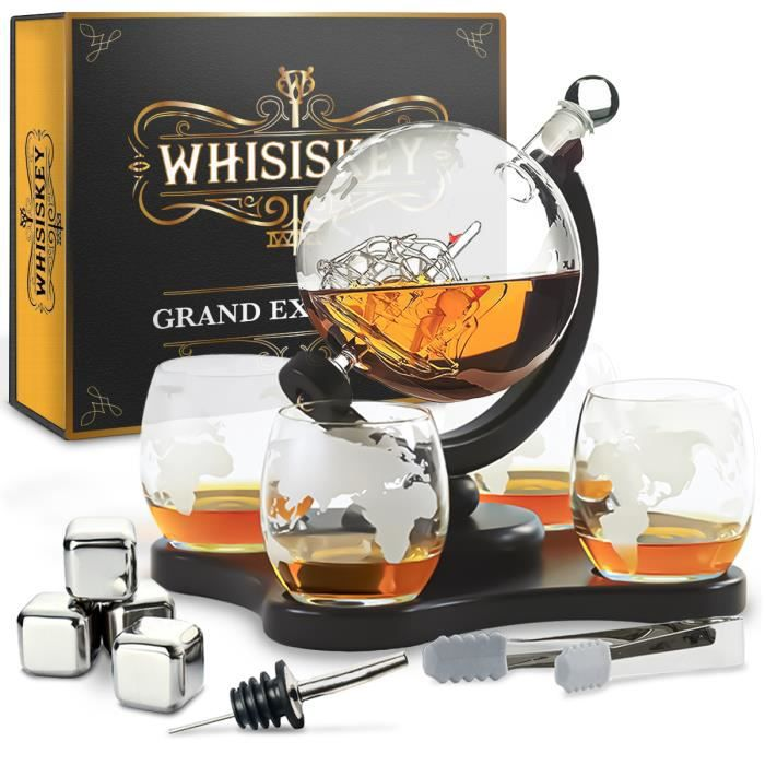 Whisiskey® Carafe Whisky - Globe - 900 ml - 4 Verre à Whisky, 4 Pierre à Whisky et Bec Verseur - Vin Carafe Decanter - Cadeau homme