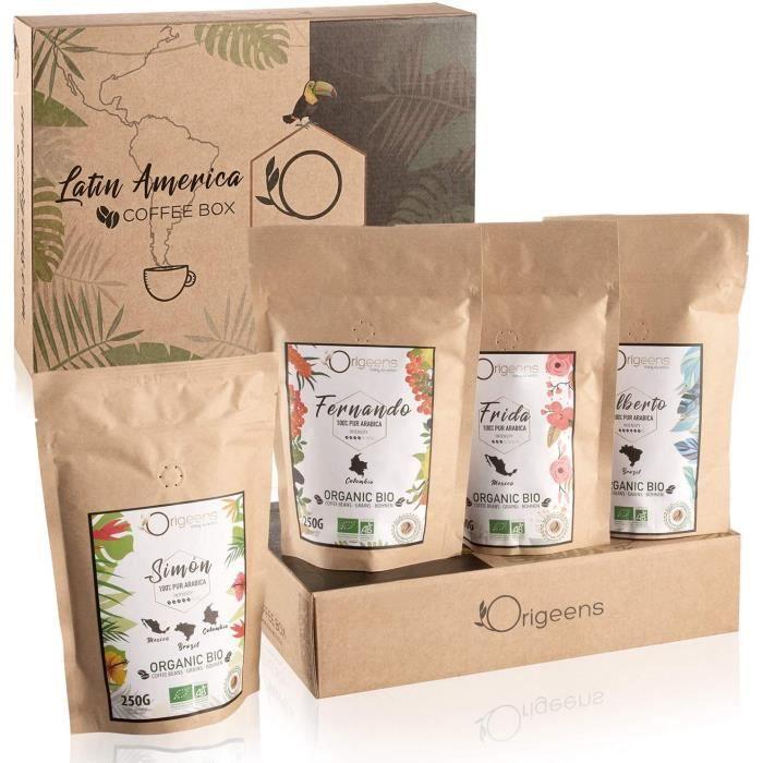 1kg BIO - Café en Grain Arabica - Coffret café dégustation Torréfaction Artisanale 4x250g - Idée Cadeau