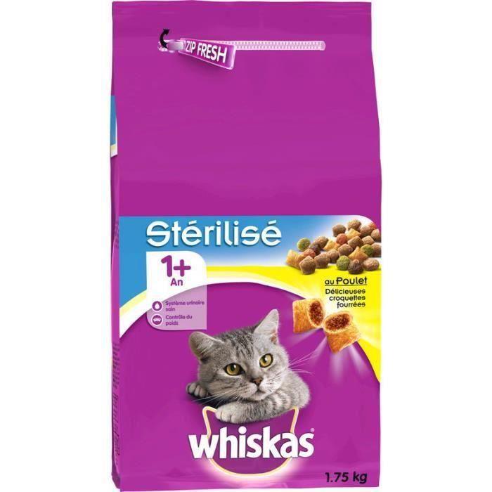 WHISKAS Croquettes - Pour chat stérilisé - 3 x 1,75 kg