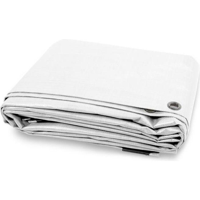 Bache de Protection - Blanc 6x10 m - Bache Imperméable avec œillet - Densité 140g Résistante Eau & UV
