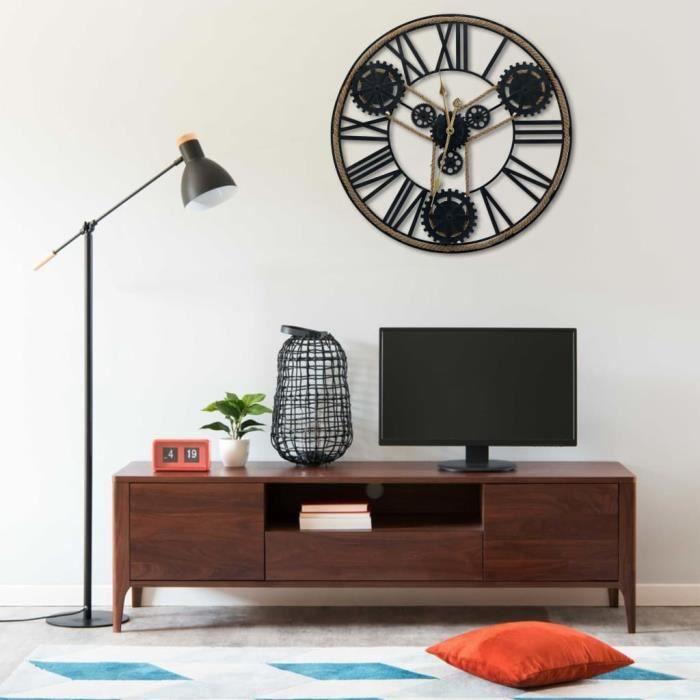Horloge murale Noir 80 cm Métal HB321459 -RAI