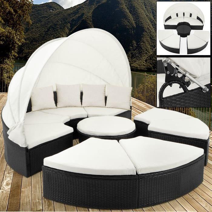 Deuba - Canapé • ensemble ovale en polyrotin noir avec coussins • 230 cm avec pare-soleil - Bain de soleil, salon de jardin, lounge