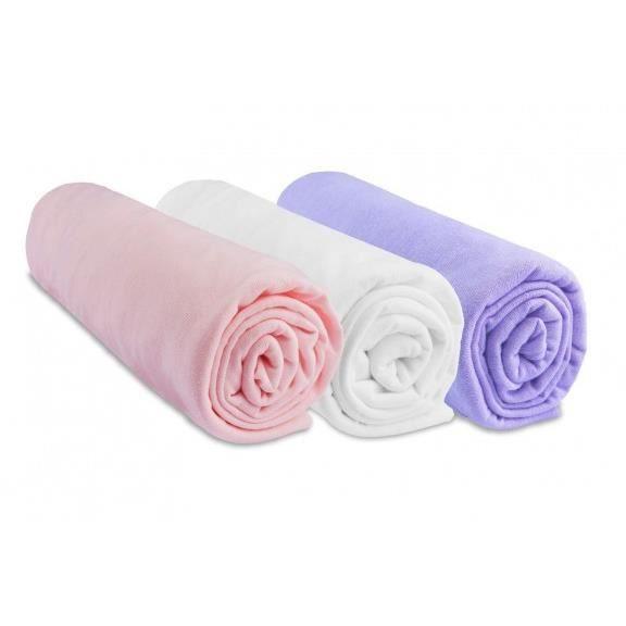 Lot de 3 draps housse coton 70x160 rose blanc parme