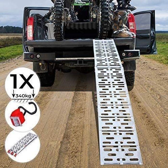 Jago® Rampe de Chargement - Pliable, en Aluminium, Charge max. 340kg, pour Motos, Quads, Voitures, Remorques - Rampe, Rails d'Accès