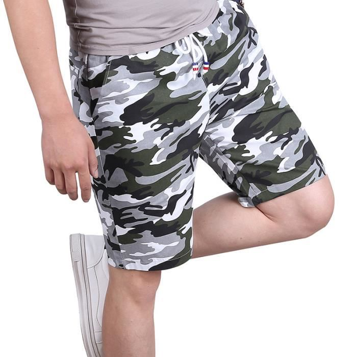 Bermuda Homme Camouflage Coton Hommes Sport Loisir,Blanc,XL