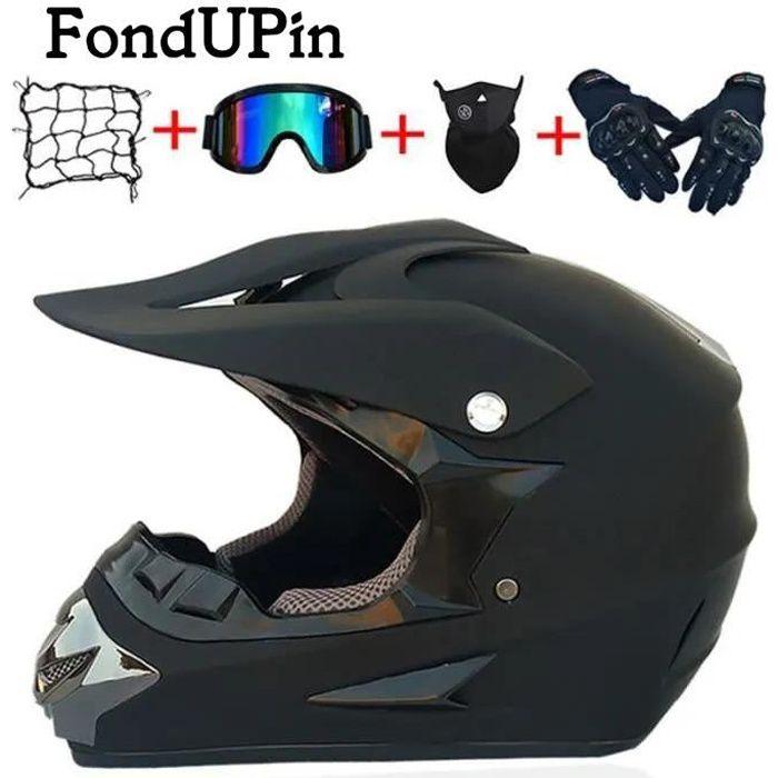 FONDUPIN-Casque Moto Cross Et Enduro Adulte Motocross Scooter Racing DOT certifié Casque Course avec Filet Lunettes Gants Masque
