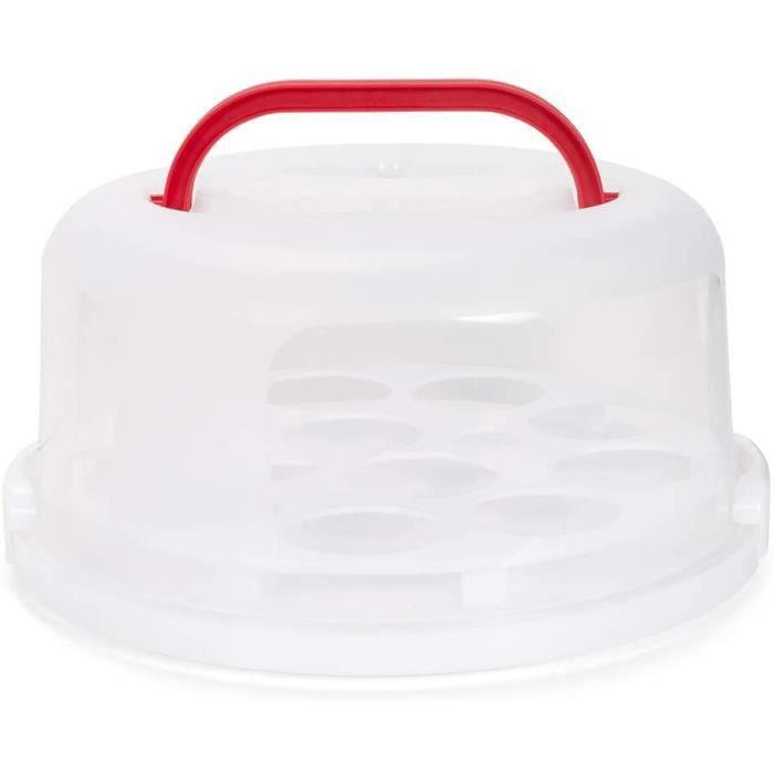 Patisse boîte à gâteaux et cupcakes 31 x 30 cm transparent/rouge
