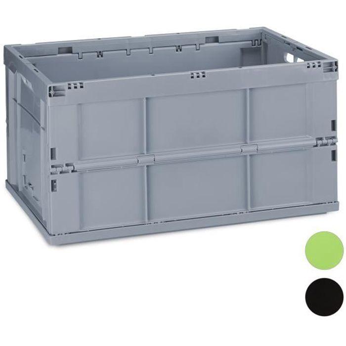 Relaxdays Boîte pliable couvercle caisse de rangement plastique coffre transport 60 litres 60x40x32 cm - 4052025924935