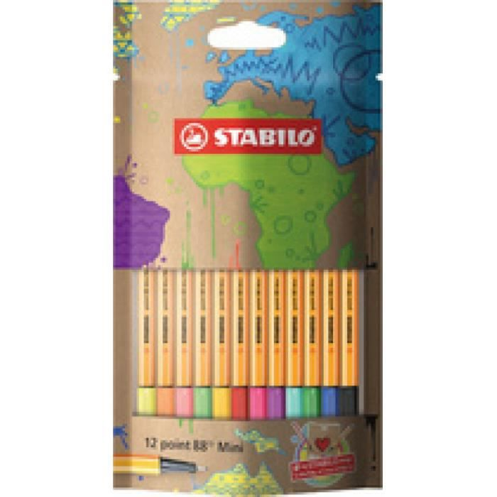 Sachet x 12 stylos-feutres STABILO point 88 Mini #mySTABILOdesign