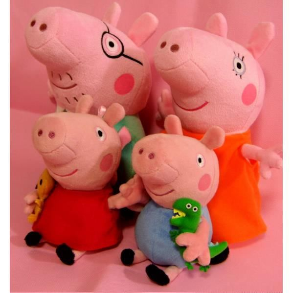 peppa pig lot de 4 personnages en peluche 19 30cm achat. Black Bedroom Furniture Sets. Home Design Ideas