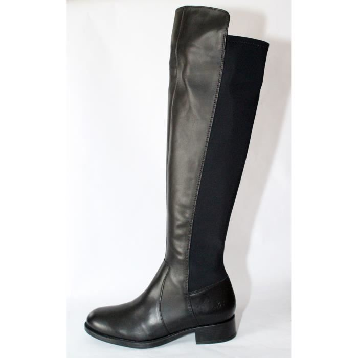c8cca4f93eff8 BOTTES FEMME CUIR   ELASTHANNE NOIR CUISSARDES CAVALIERS T 37 NEUVES ...