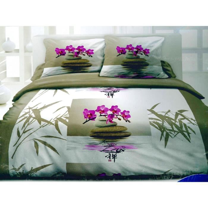 housse de couette 2 taies zen nature pictures to pin on. Black Bedroom Furniture Sets. Home Design Ideas