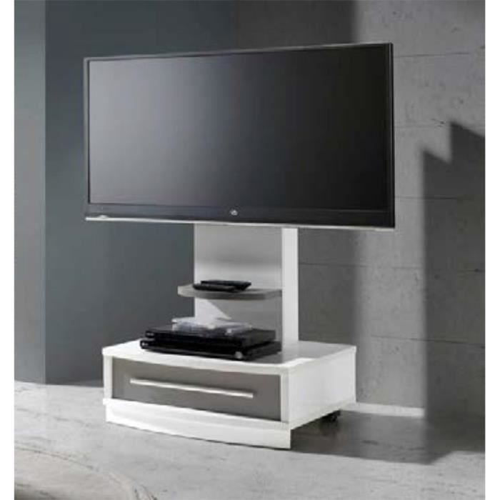 meuble tv blanc moka avec tiroir 130 x 72 x 50 cm achat. Black Bedroom Furniture Sets. Home Design Ideas