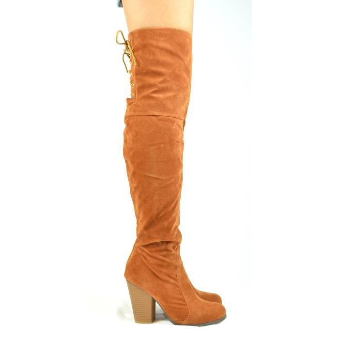 Max-2 Chunky Block Heel With Partial Side Zipper And Back Lace-up Tall Boot XV07P Taille-38