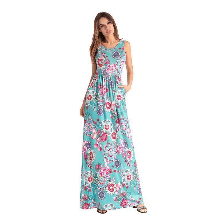 Wowa Femme Robe Maxi Boheme Longue Floral Imprime Robe De Plage Sans Manches Cocktail Vert Vert Achat Vente Robe Cdiscount