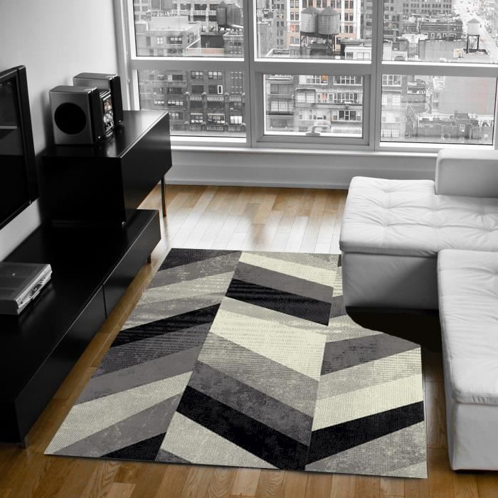 belis tapis de salon 120x170 cm gris noir et blanc achat. Black Bedroom Furniture Sets. Home Design Ideas