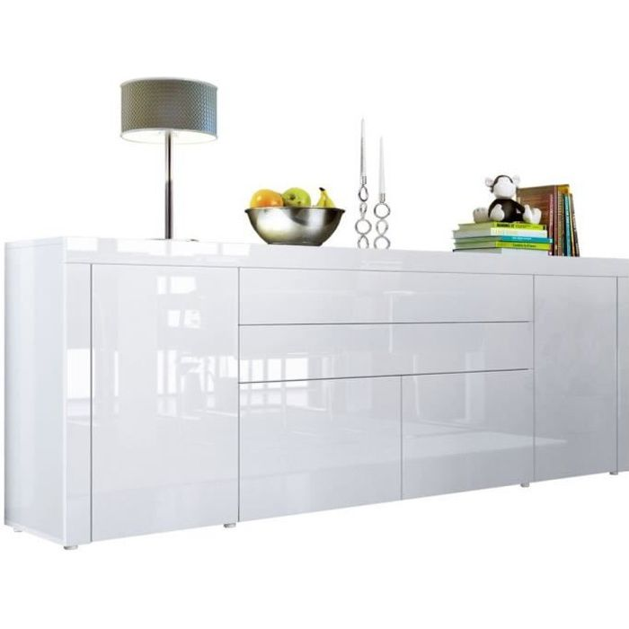 buffet blanc int gralement laqu 200 cm achat vente buffet bahut buffet blanc. Black Bedroom Furniture Sets. Home Design Ideas