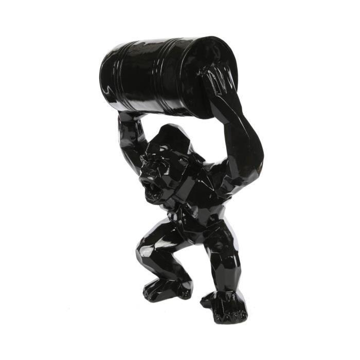 Gorille tonneau agressif statue noire en origami 67 cm