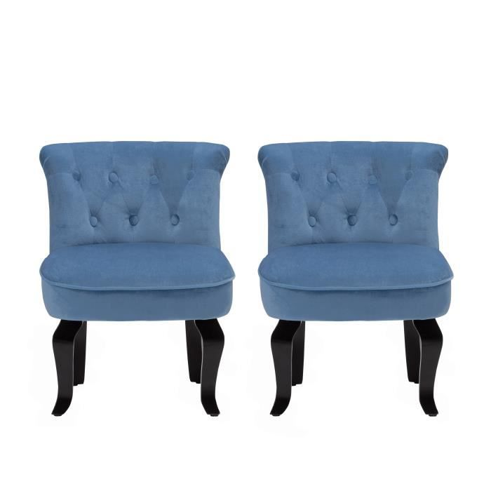 fauteuil crapaud velours bleu lot de 2 achat vente fauteuil cdiscount. Black Bedroom Furniture Sets. Home Design Ideas