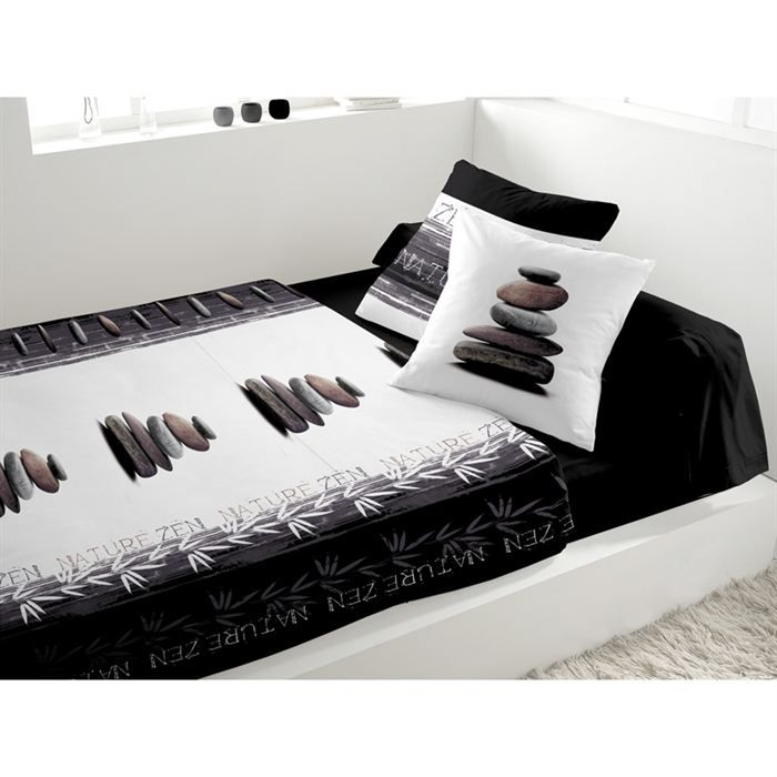 parure de lit 5 pi ces nature zen noir achat vente. Black Bedroom Furniture Sets. Home Design Ideas