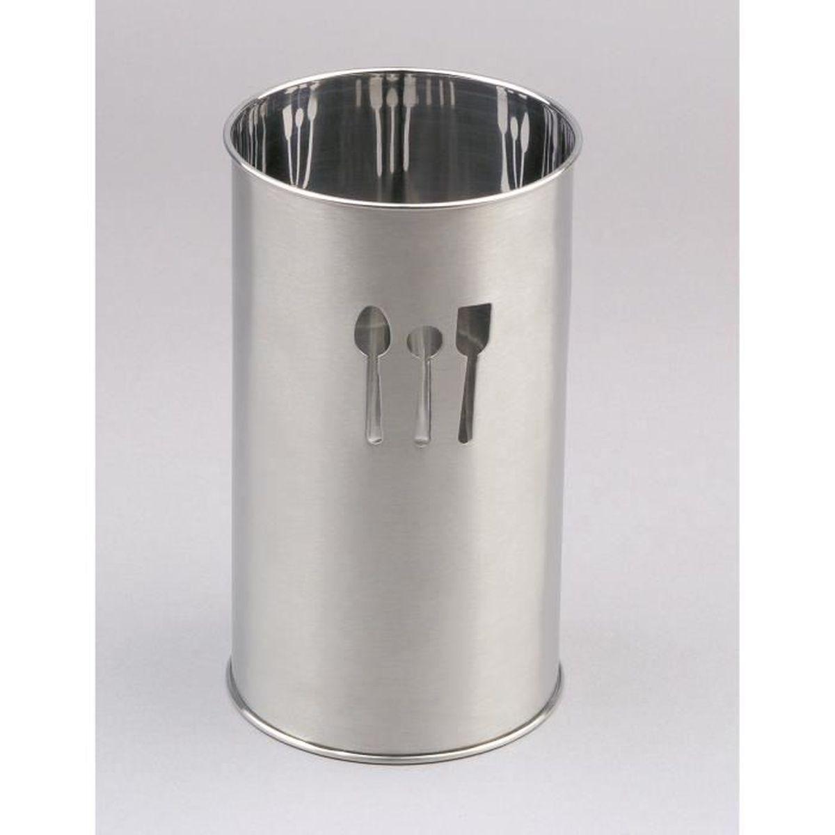 Porte Ustensile De Cuisine Sans Percer porte-ustensiles de cuisine decore - inox de qualite superieure - hauteur  18 cm - diametre 10 cm - passe au lave-vaisselle