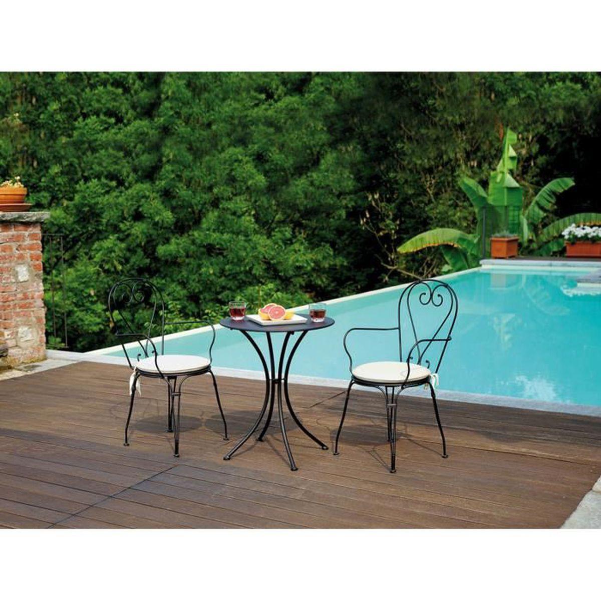 Table et chaise de jardin en fer forge