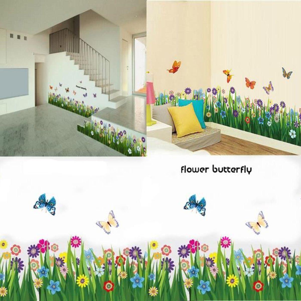 Deco Jungle Chambre Adulte diy fleur papillon mur sticker autocollant mural chambre salon enfant  d�coration