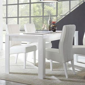 TABLE À MANGER SEULE Table salle à manger design blanc laqué SANDREA 14