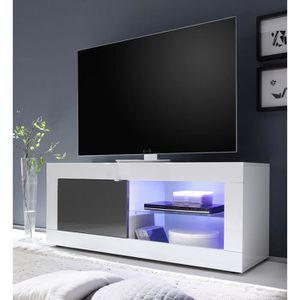 MEUBLE TV Meuble TV blanc et gris laqué design FELINO 3 L 14