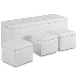 COFFRE - MALLE Banquette Coffre Valence XL + 3 poufs Blanc