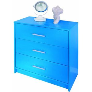 COMMODE DE CHAMBRE Commode New York Aktion Bleu Indigo avec 3 Tiroirs