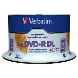 CD - DVD VIERGE 1x50 Verbatim DVD+R DL wide pr. 8x Speed, 8,5GB...
