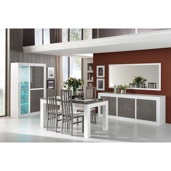 Salle à manger design laquée blanche et grise Romain-Table ...