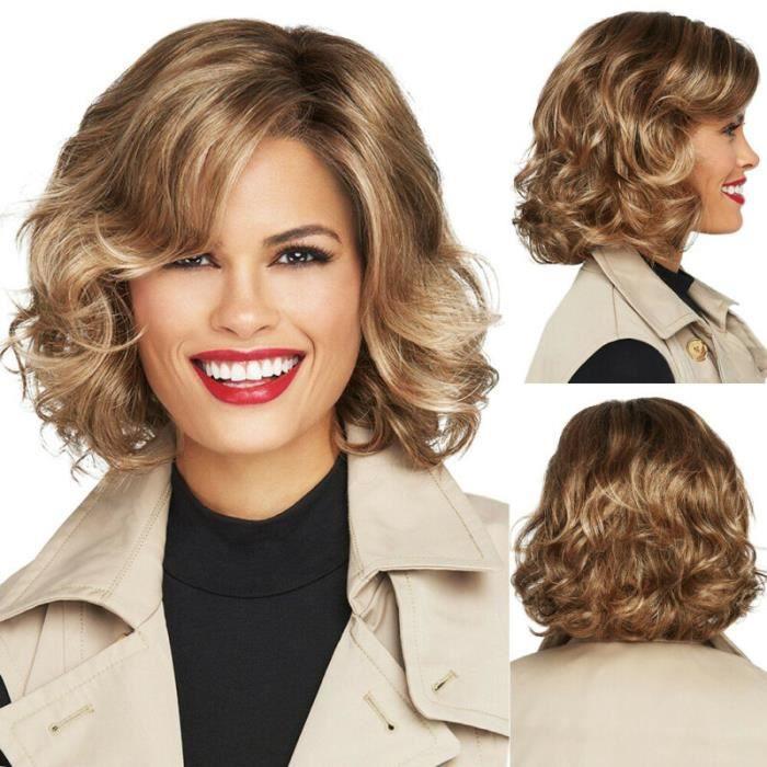 moyenne courte perruque pour femmes cheveux bouclés ondulés perruques dégradée naturelle